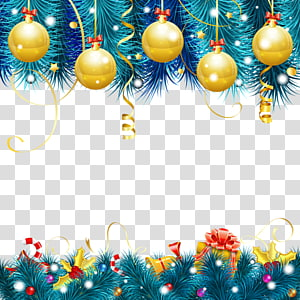 gold and blue Christmas-themed borders illustration, New Years Day Christmas Wish Greeting, Christmas decoration PNG