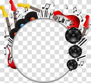 cartoon color guitar sound and creative promotional circular plate PNG