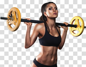 woman carrying yellow and black barbell, Weight training Suplementos Deportivos Mochis Barbell Fitness Centre, gym woman PNG