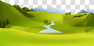 green open field illustration, Mountain river Landscape, Forest PNG clipart