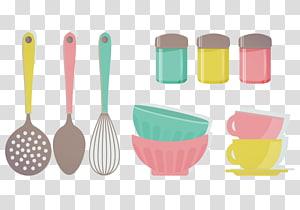 kitchen utensils illustration, Kitchen utensil Knife Kitchenware Table, Kitchen utensils bowl and spoon PNG clipart