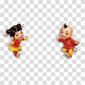 Chinese New Year Child, Happy cartoon boys and girls PNG