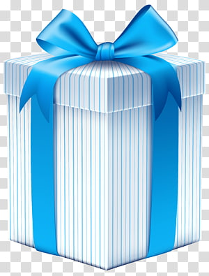 blue and white gift box , Gift Box Ribbon , Gift Box with Blue Bow PNG clipart