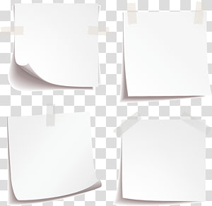 four printer papers with adhesive tapes, Paper Rectangle White, Blank paper notes material PNG clipart