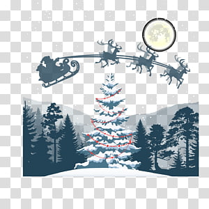 Santa Claus Christmas tree Christmas Eve Reindeer, Christmas Eve scenery PNG clipart
