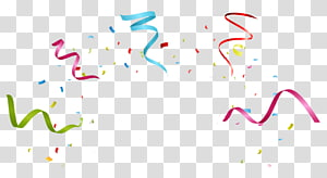 Party Ribbon Birthday , Colorful fireworks ribbons, red, blue, and green ribbon and confetti illustration PNG clipart
