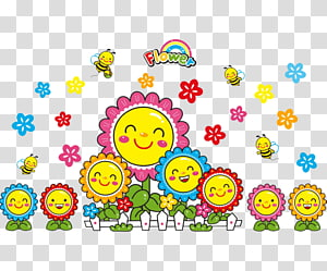 Paper Wall Bedroom Common sunflower , Smiling children smile PNG