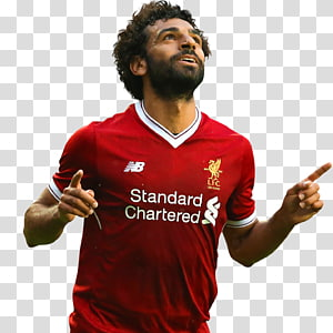 man wearing red New Balance V-neck jersey, Mohamed Salah Liverpool F.C. Anfield A.S. Roma Egypt national football team, football PNG clipart