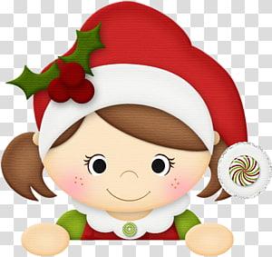 Christmas elf , chubby little girl PNG clipart