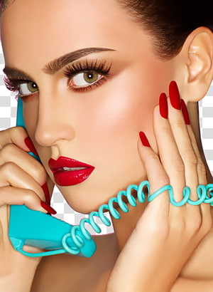 woman holding teal telephone, Cosmetics Make-up artist Beauty Eye shadow Eyelash, Fashion makeup female face closeup PNG