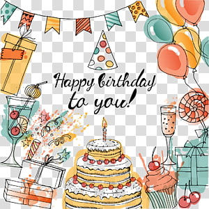 Happy Birthday to you text overlay, Birthday cake Greeting card Taobao, decorative birthday celebration Party PNG clipart
