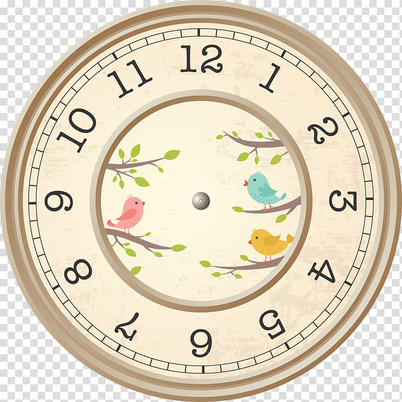 round beige and green floral clock face, Beige Clock Birds Decoration PNG clipart
