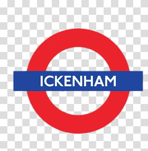 ickenham text on blue rectangle and red circle background, Ickenham PNG