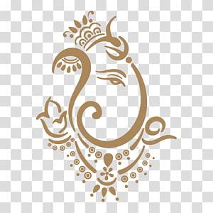 brown abstract art illustration, Shiva Ganesha Ganesh Chaturthi , ganpati PNG