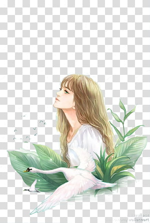 Girl Animation, girl, woman in white dress beside bird illustration PNG clipart
