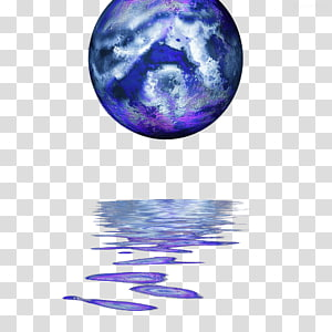 Drawing Illustration, Blue planet water reflection PNG clipart