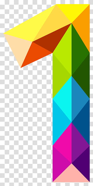 Number Color , Colourful Triangles Number One , multicolored 1 illustration PNG