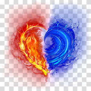 blue water and red fire heart , Light Love on Fire Flame, Love cool light effects PNG clipart