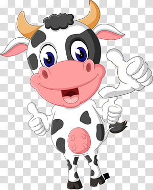 white cartoon cow PNG clipart
