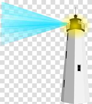 white and black lighthouse illustration, Lighthouse With Blue Light PNG