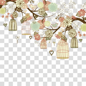 fresh and lovely hand-painted birds and trees background cage PNG