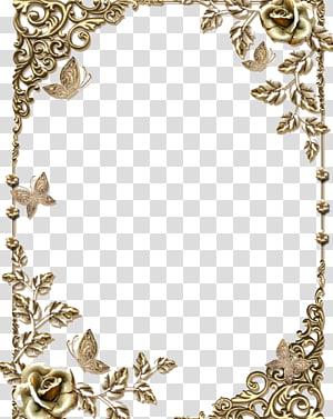 gold floral end frames, , Gold frame PNG clipart