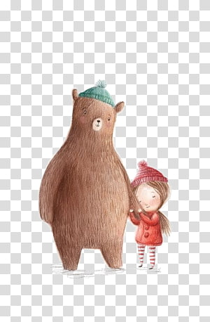 Bear Drawing Illustrator Cartoon Illustration, Bear and girl PNG clipart