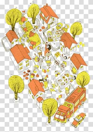Illustrator Cartoon Illustration, Cartoon town PNG clipart