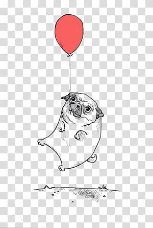 pug with balloon illustration, Shar Pei Pug Bulldog Border Collie Balloon Dog, hand painted sketch dog balloon balloon PNG clipart