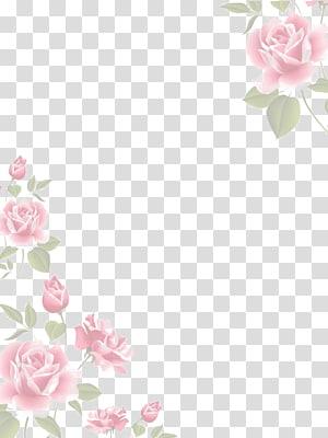 pink watercolor flower borders PNG