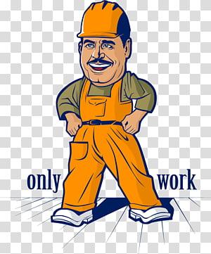 Cartoon Laborer Illustration, Artwork cartoon character material PNG