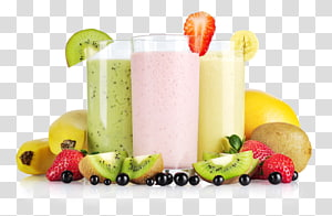 clear drinking glasses and assorted fruits, Milkshake Smoothie Juice Fruit Banana, smoothies PNG