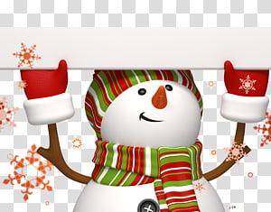 Snowman Christmas card Wish New Year , Christmas cartoon snowman material PNG