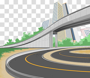 flyover and curved road , Road transport Illustration, road PNG clipart