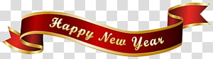 New Year's Day Banner Party New Year's Eve, Happy New Year Red Banner , ribbon with Happy New year text overlay PNG clipart