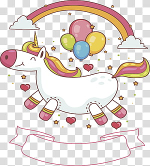 white and pink rainbow unicorn with balloon , Lovely Unicorn cover PNG clipart