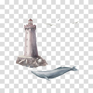 whale under lighthouse illustration, Watercolor painting Illustration, Watercolor lighthouse and whale PNG