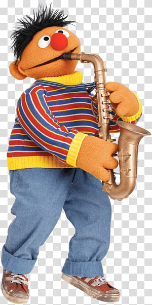 The Sesame Street Ernie playing saxophone, Sesame Street Ernie With Saxophone PNG