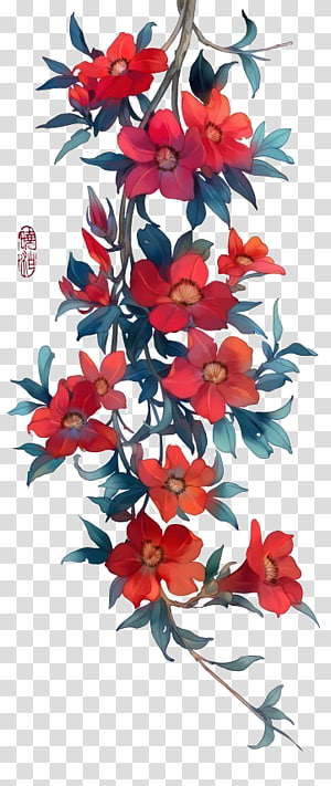 Watercolor painting Icon, Antiquity beautiful watercolor illustration, red petaled flower illustration PNG