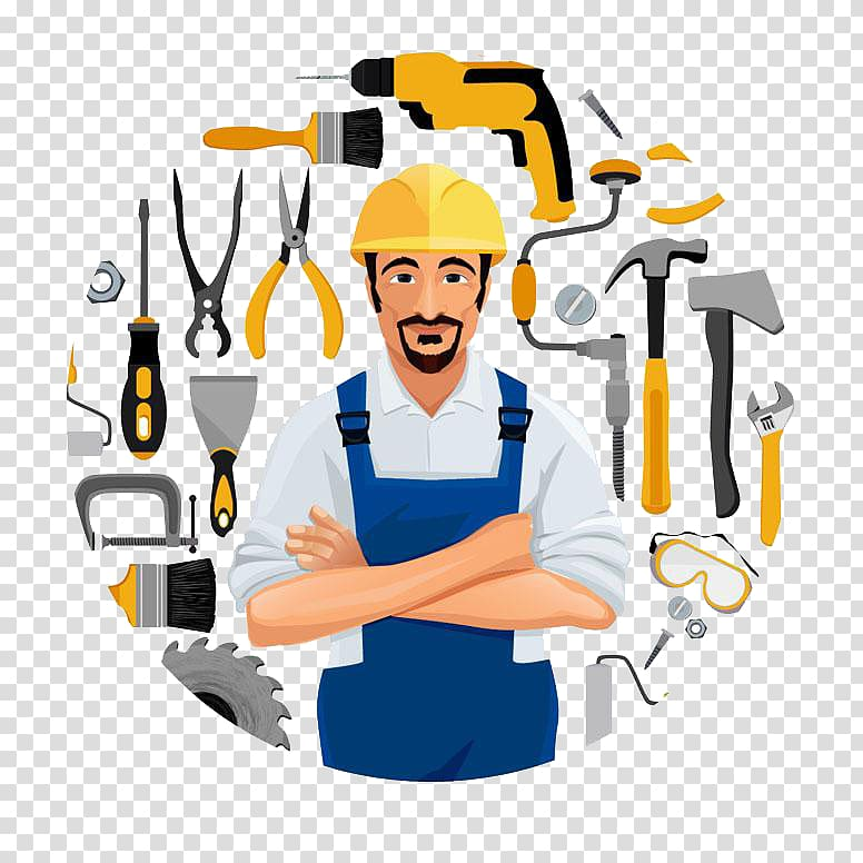 cartoon workers and tools PNG