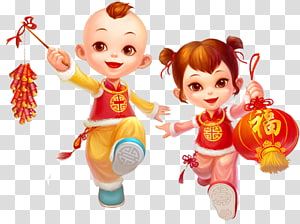 boy and girl illustrations, Chinese New Year Traditional Chinese holidays Lantern Festival, China Doll Year PNG clipart