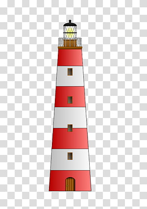 red and white lighthouse illustration, Red White Lighthouse PNG