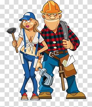 Hand tool Laborer, Cartoon maintenance workers, men and women PNG