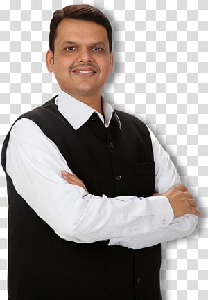 man wearing black vest and white dress shirt illustration, Devendra Fadnavis Nagpur Nashik Chief minister, Chief Minister PNG