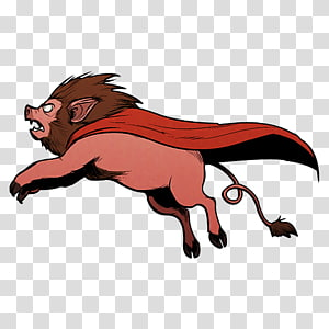 bore with red cape illustration, wildlife big cats claw carnivoran , Super Lion Pig PNG clipart