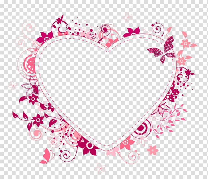 pink and peach floral heart frame , Frames Love , love frame PNG clipart
