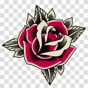 red and gray rose illustration, Rose Old school (tattoo) Sticker, old school PNG