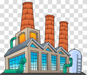 multicolored building with illustration, Factory Building , factory PNG clipart