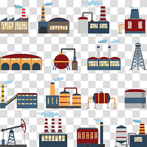 assorted factories illustration collage, Factory Building Illustration, hand painted factory PNG clipart