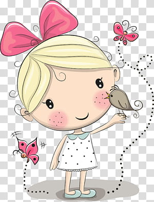 Cartoon Cuteness Drawing, little girl, brown bird perch on girl hand cartoon PNG